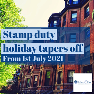 Stamp duty holiday tapers off from 1st July 2021